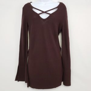 Free People Brown Long Sleeve Pullover Size Small